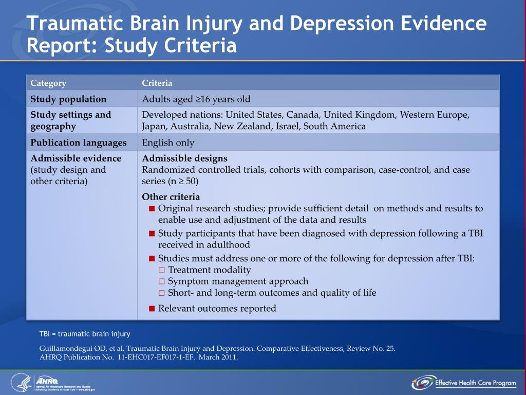Traumatic Brain Injury and Depression Evidence Report: Study Criteria