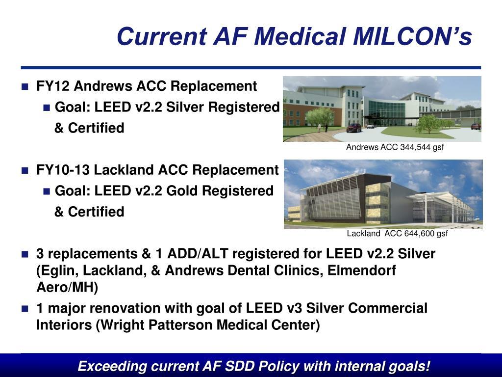Current AF Medical MILCON's