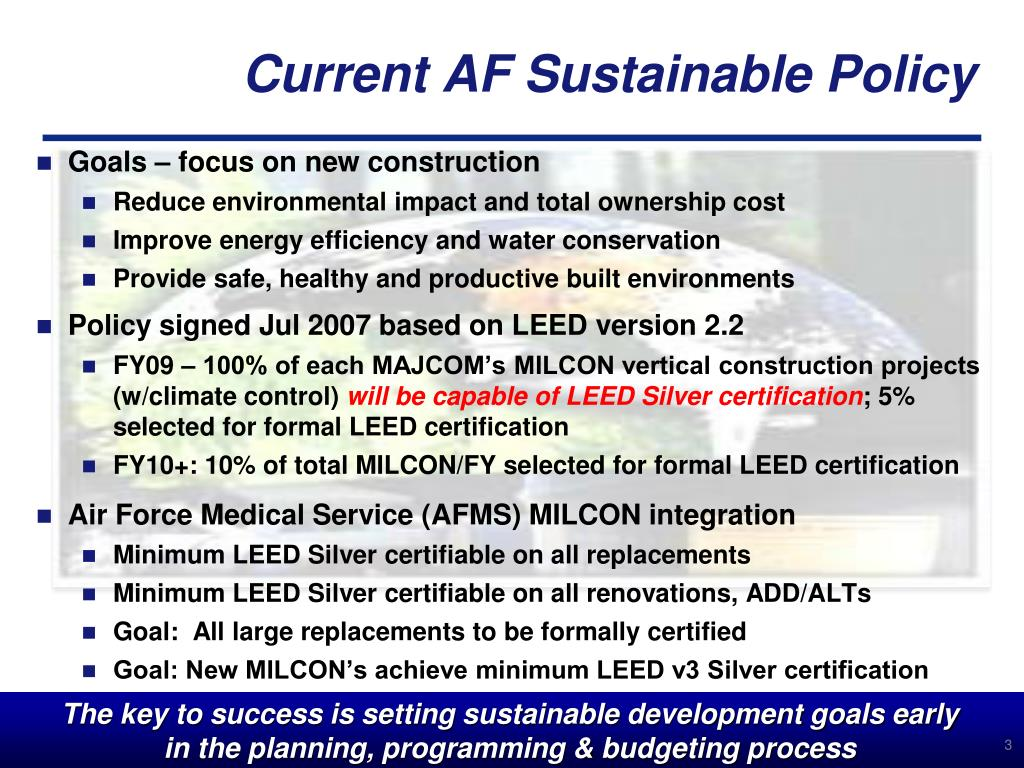 Current AF Sustainable Policy