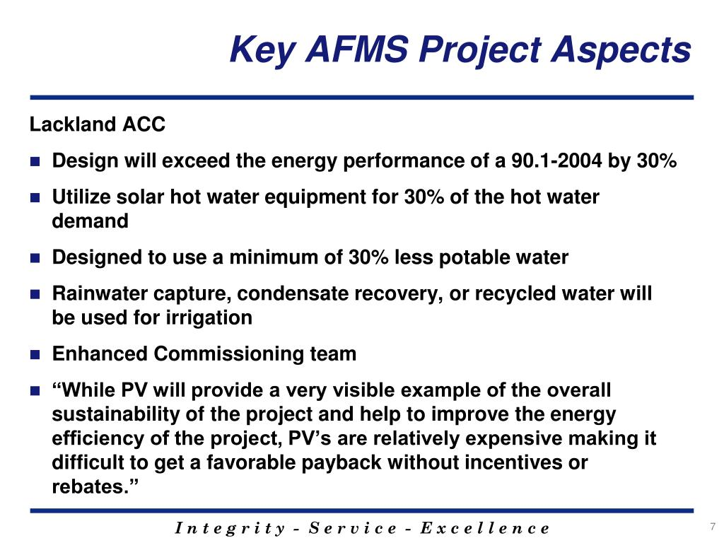 Key AFMS Project Aspects