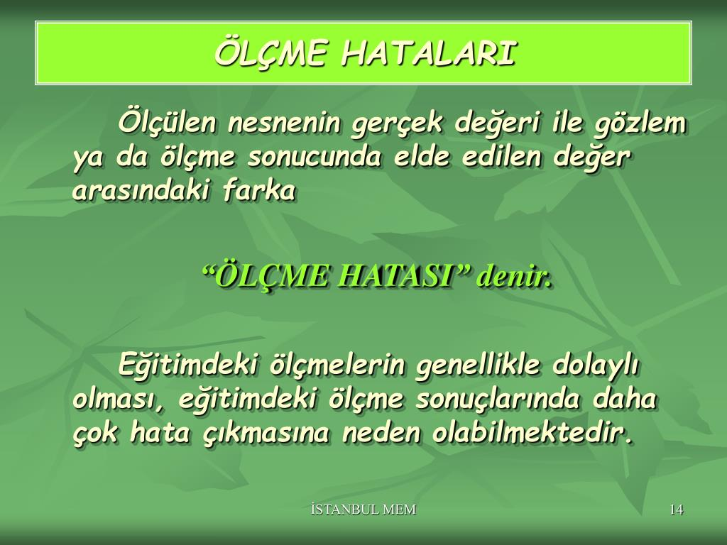ÖLÇME HATALARI