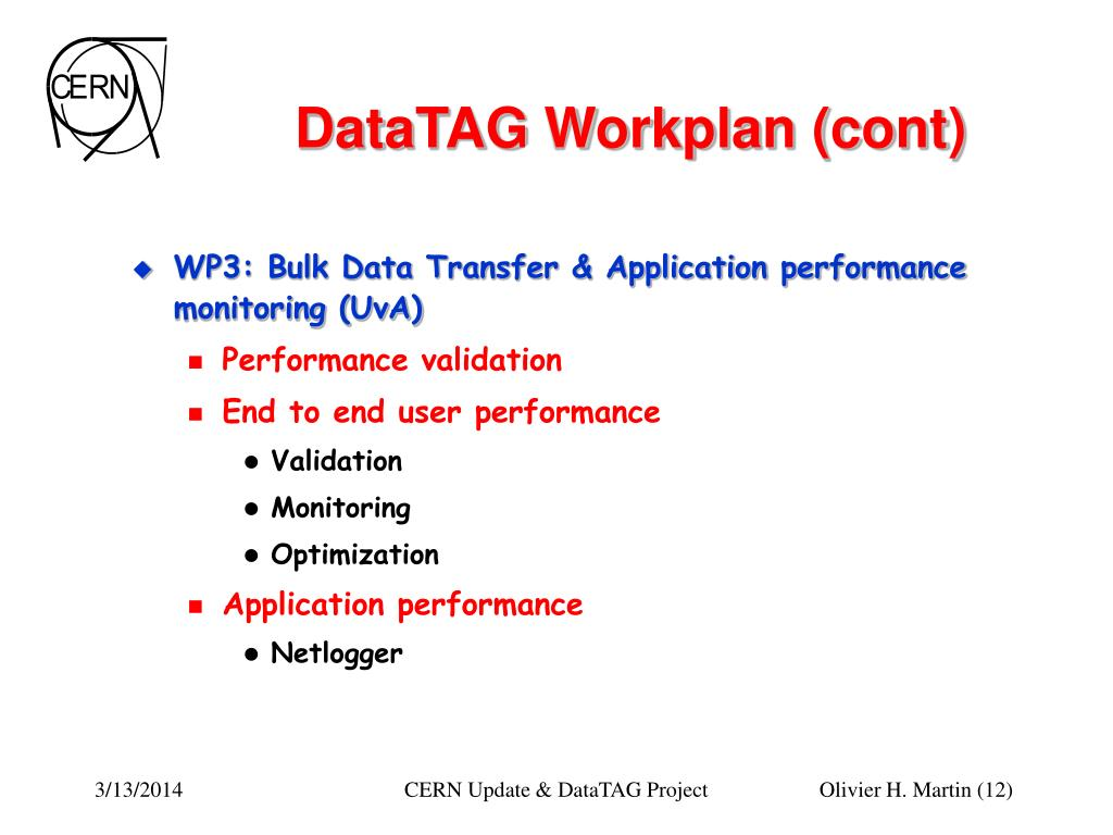 DataTAG Workplan (cont)