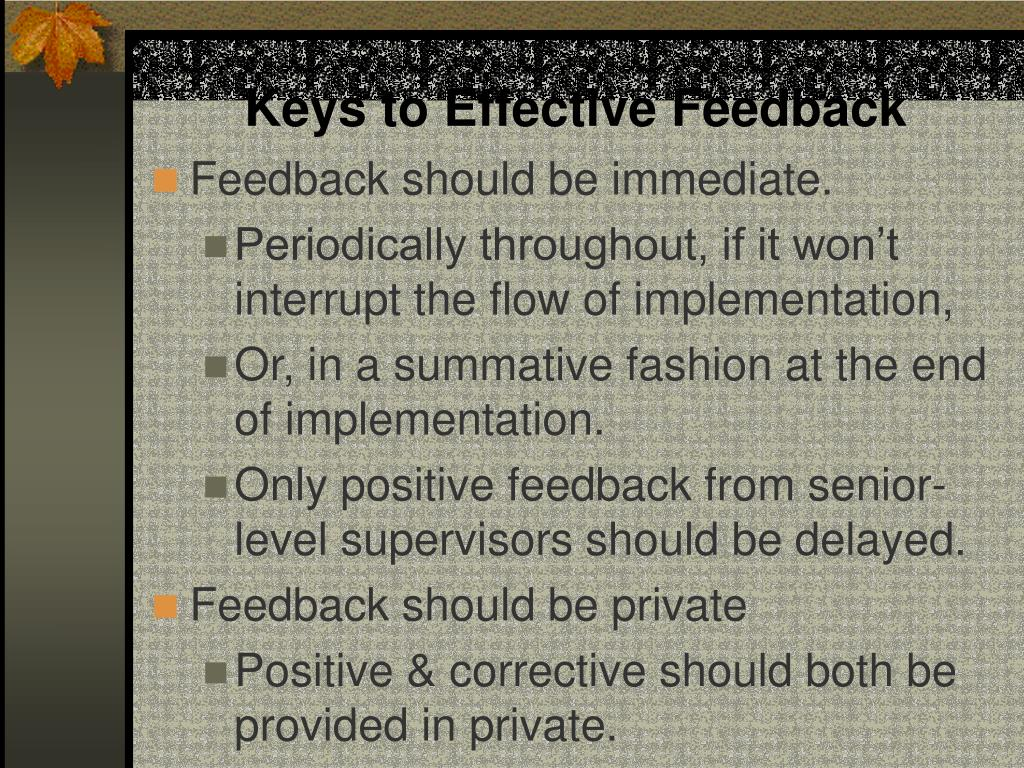 Keys to Effective Feedback