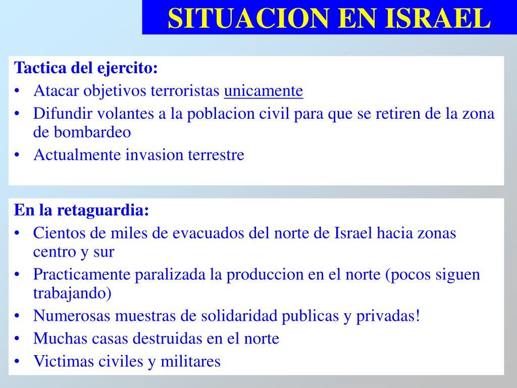 SITUACION EN ISRAEL