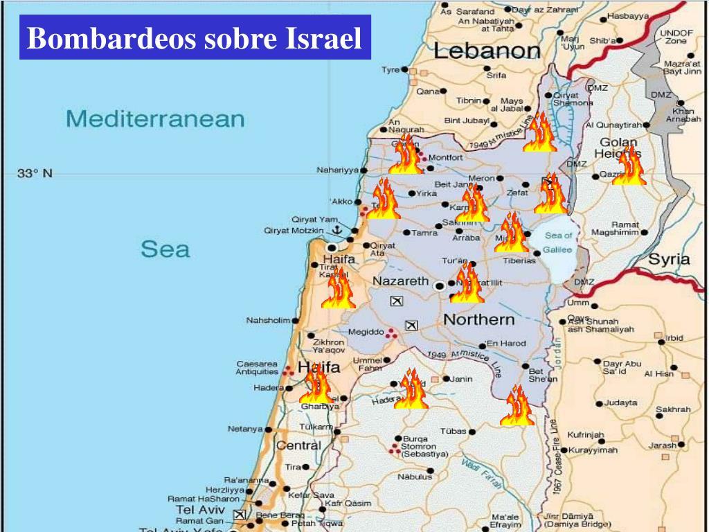 Bombardeos sobre Israel