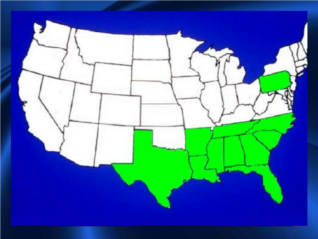 States infested (green) with Tropical Soda Apple