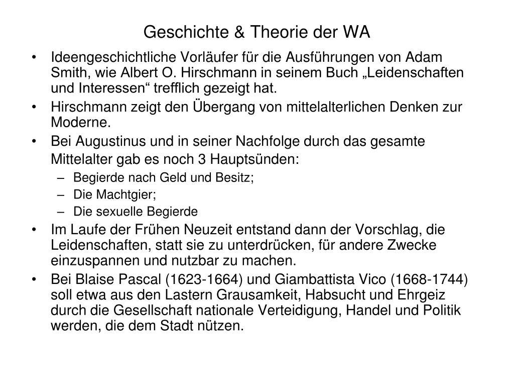 Geschichte & Theorie der WA