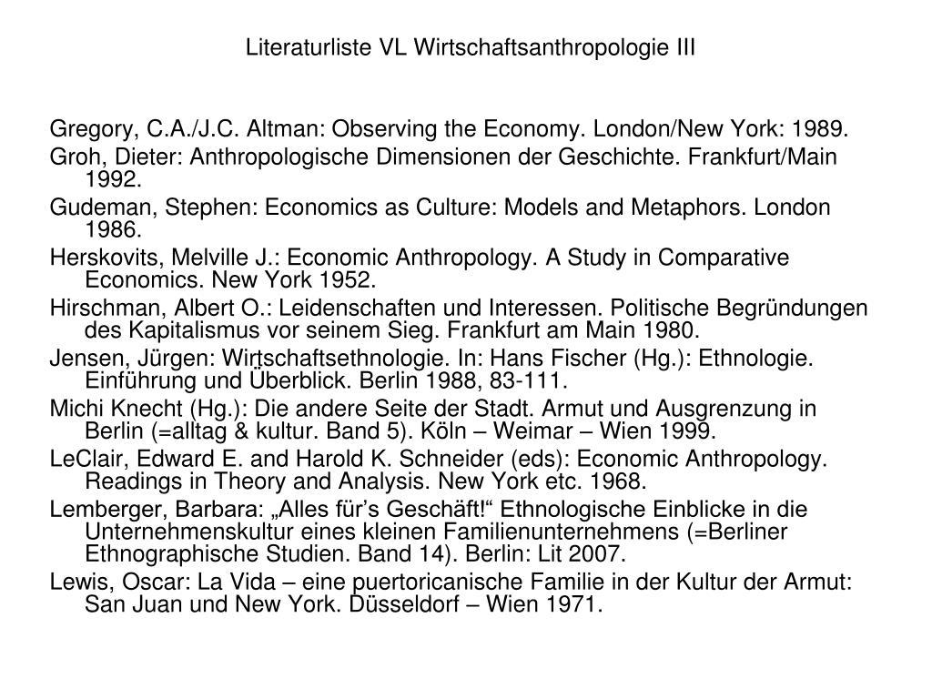 Literaturliste VL Wirtschaftsanthropologie III