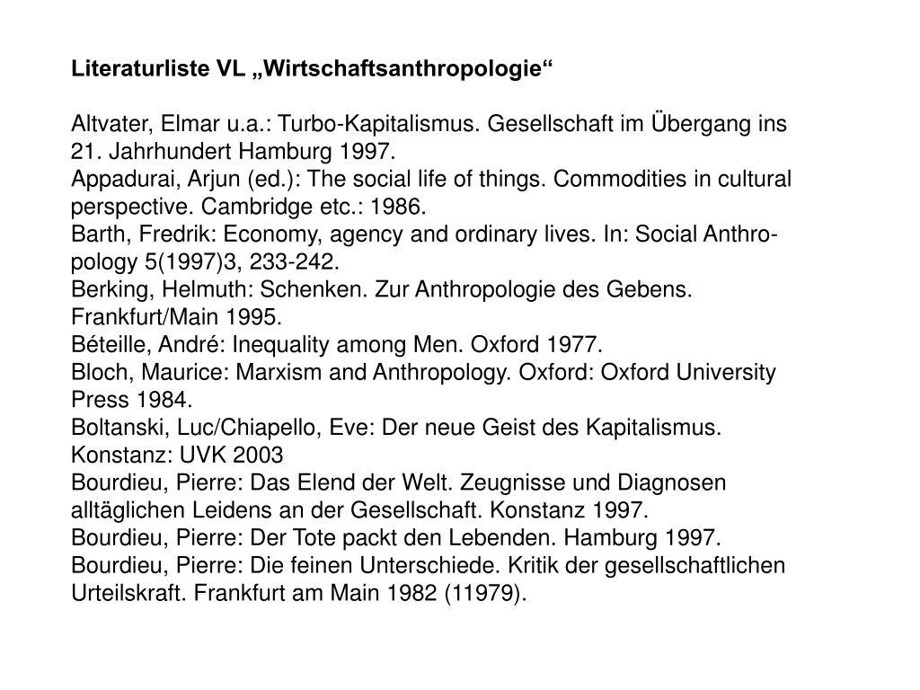 """Literaturliste VL """"Wirtschaftsanthropologie"""""""
