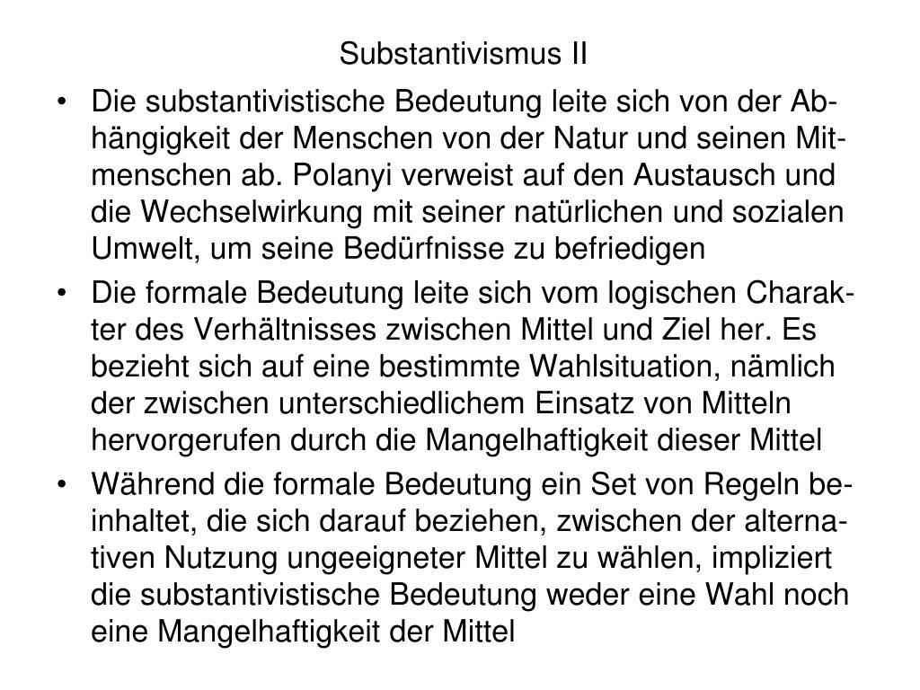 Substantivismus II