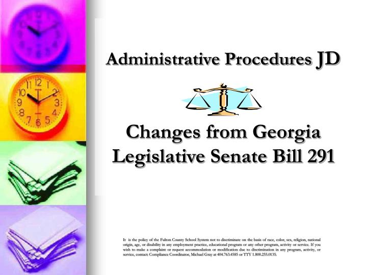 Administrative procedures jd changes from georgia legislative senate bill 291