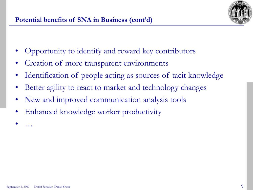 Potential benefits of SNA in Business (cont'd)