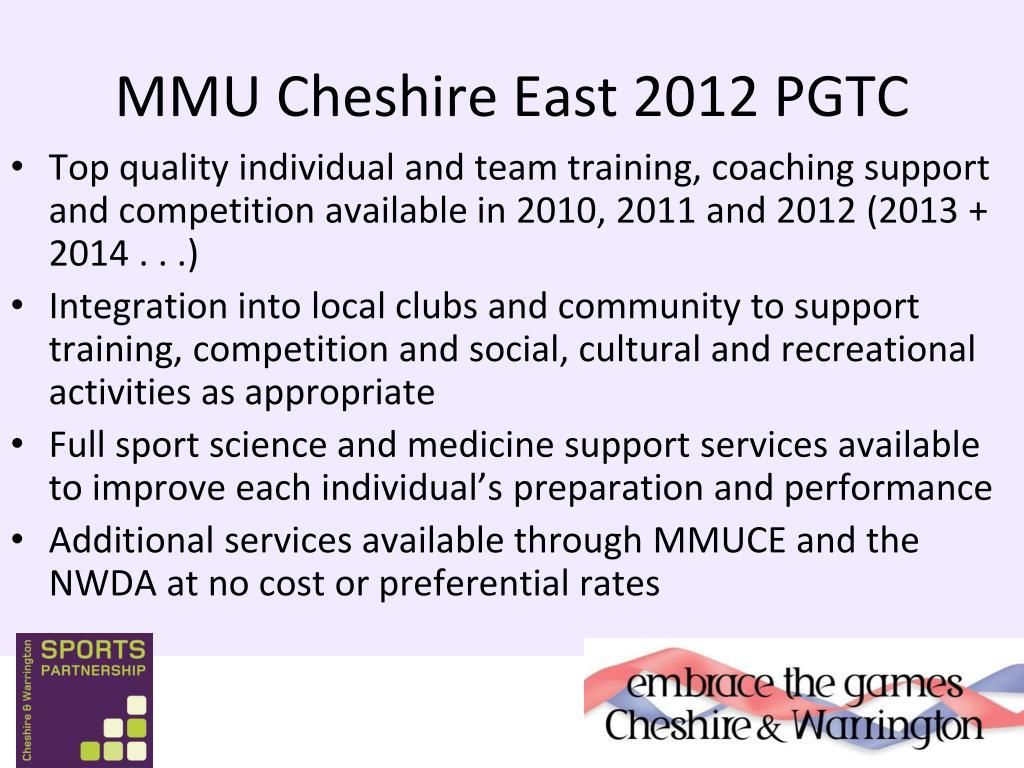 MMU Cheshire East 2012 PGTC