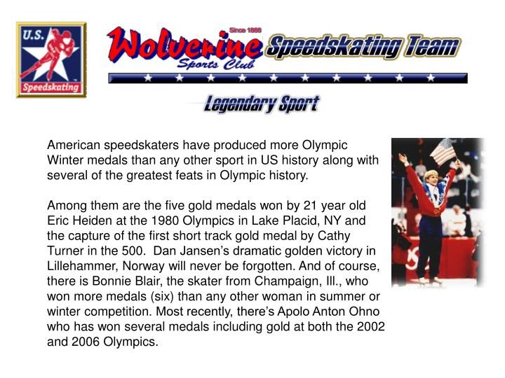 American speedskaters have produced more Olympic Winter medals than any other sport in US history al...