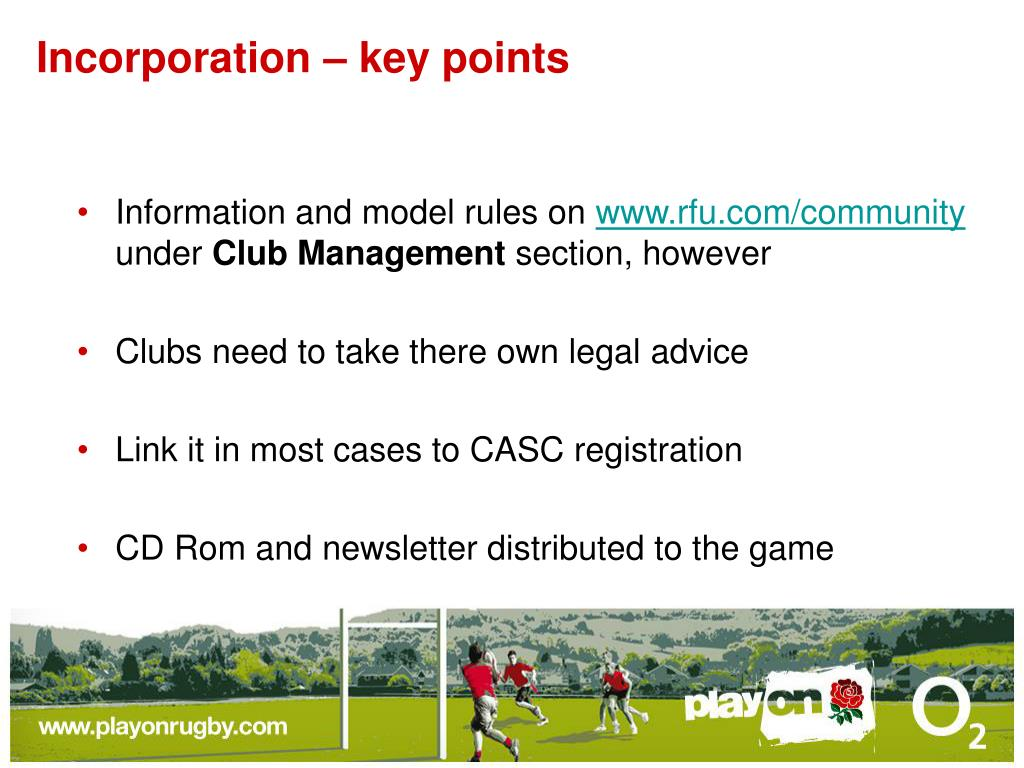 Incorporation – key points