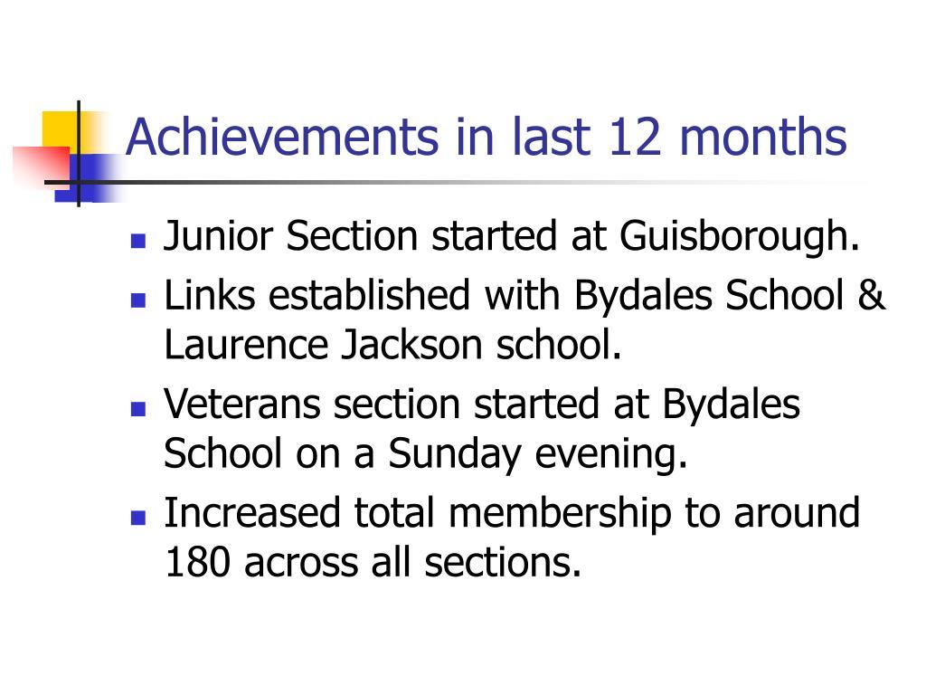 Achievements in last 12 months