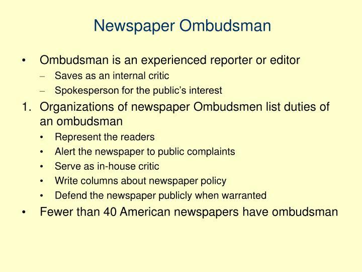 Newspaper Ombudsman