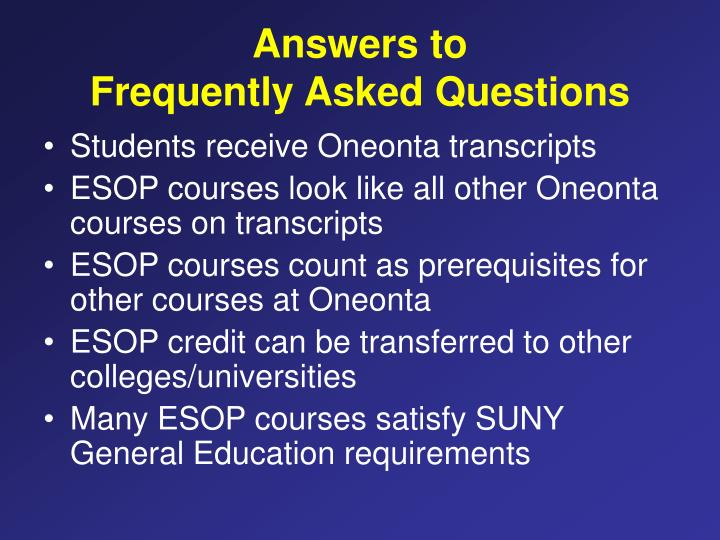Answers to