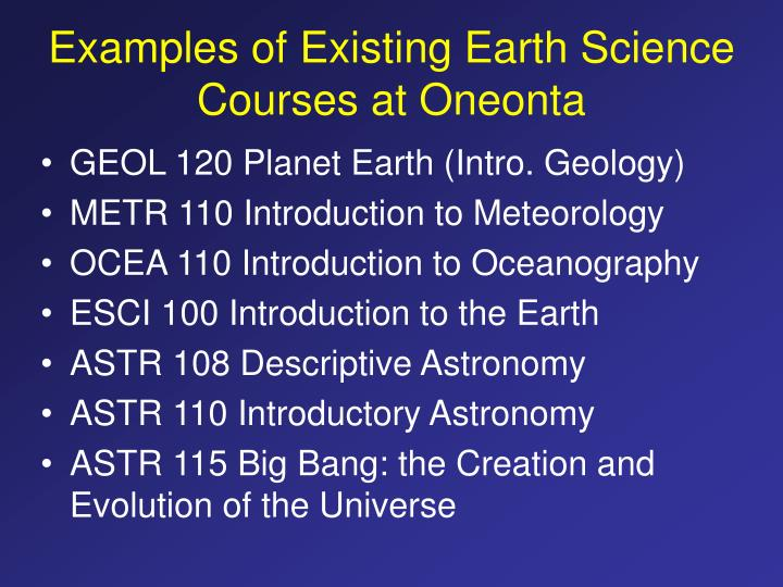 Examples of Existing Earth Science Courses at Oneonta