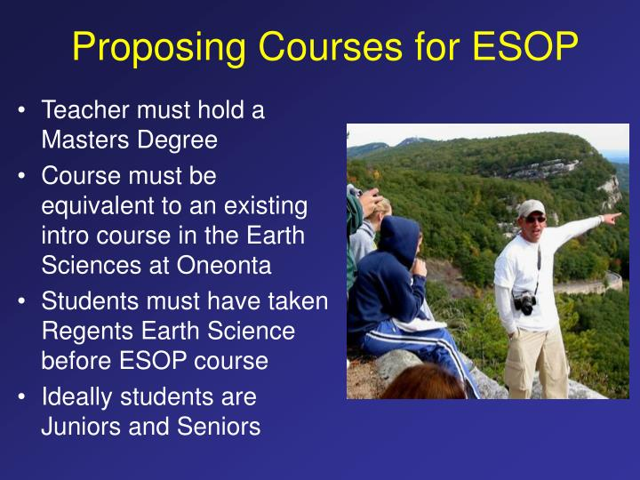 Proposing Courses for ESOP