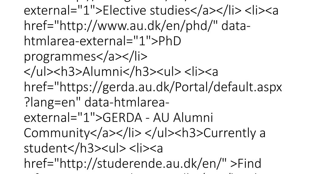 "<div class=""mdd_column""><div id=""c39752"" class=""csc-default"" class=""csc-default""><h3>Study guide</h3><ul> <li><a href=""http://studieguide.au.dk/en/"" data-htmlarea-external=""1"">Read more about the study guide</a></li> <li><a href=""http://bachelor.au.dk/en/"""