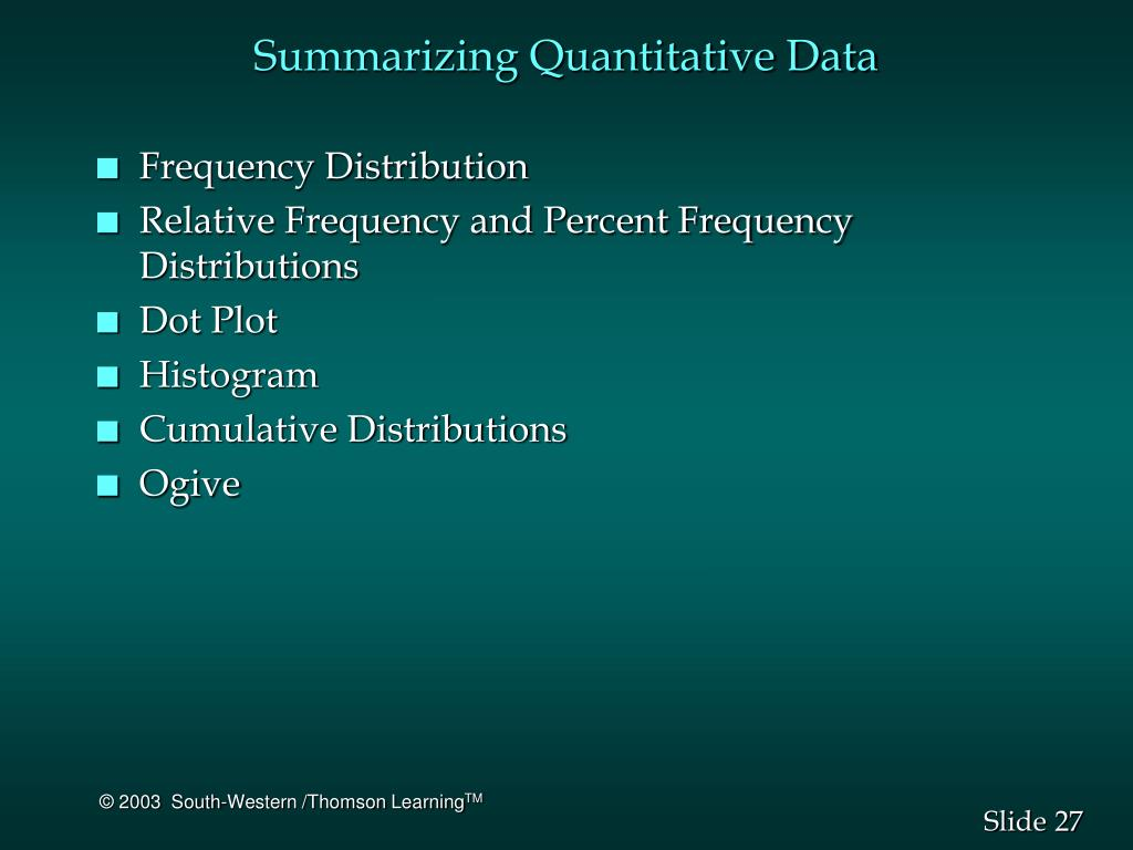 Summarizing Quantitative Data