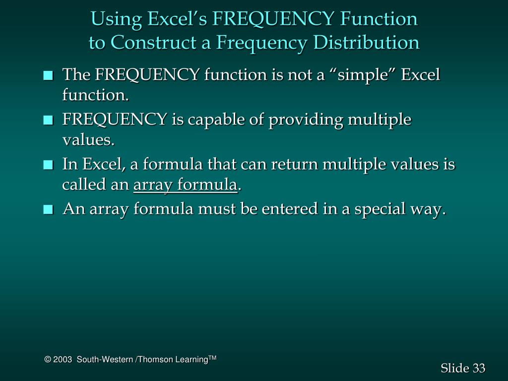 Using Excel's FREQUENCY Function