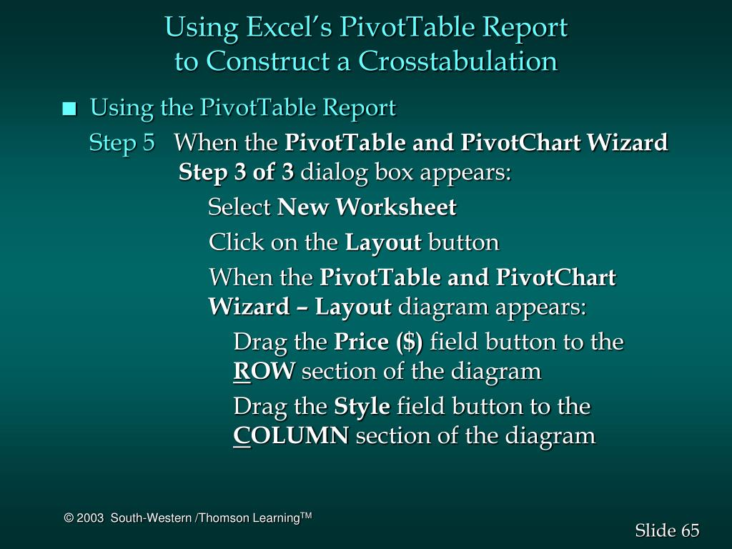 Using Excel's PivotTable Report