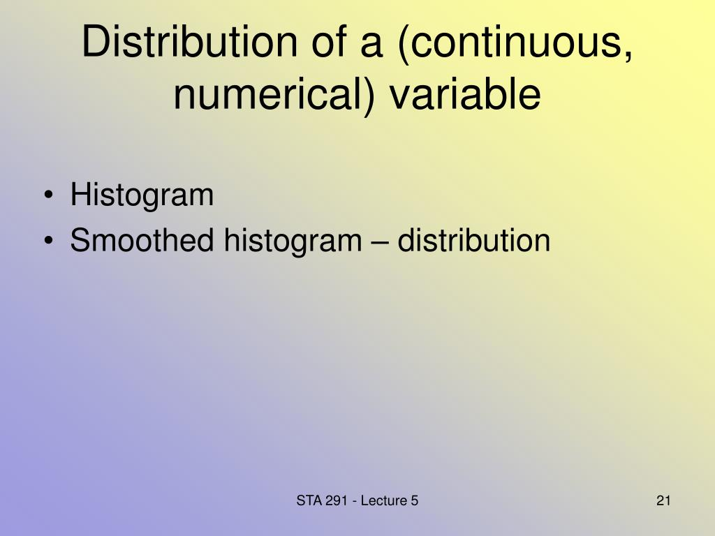 Distribution of a (continuous, numerical) variable