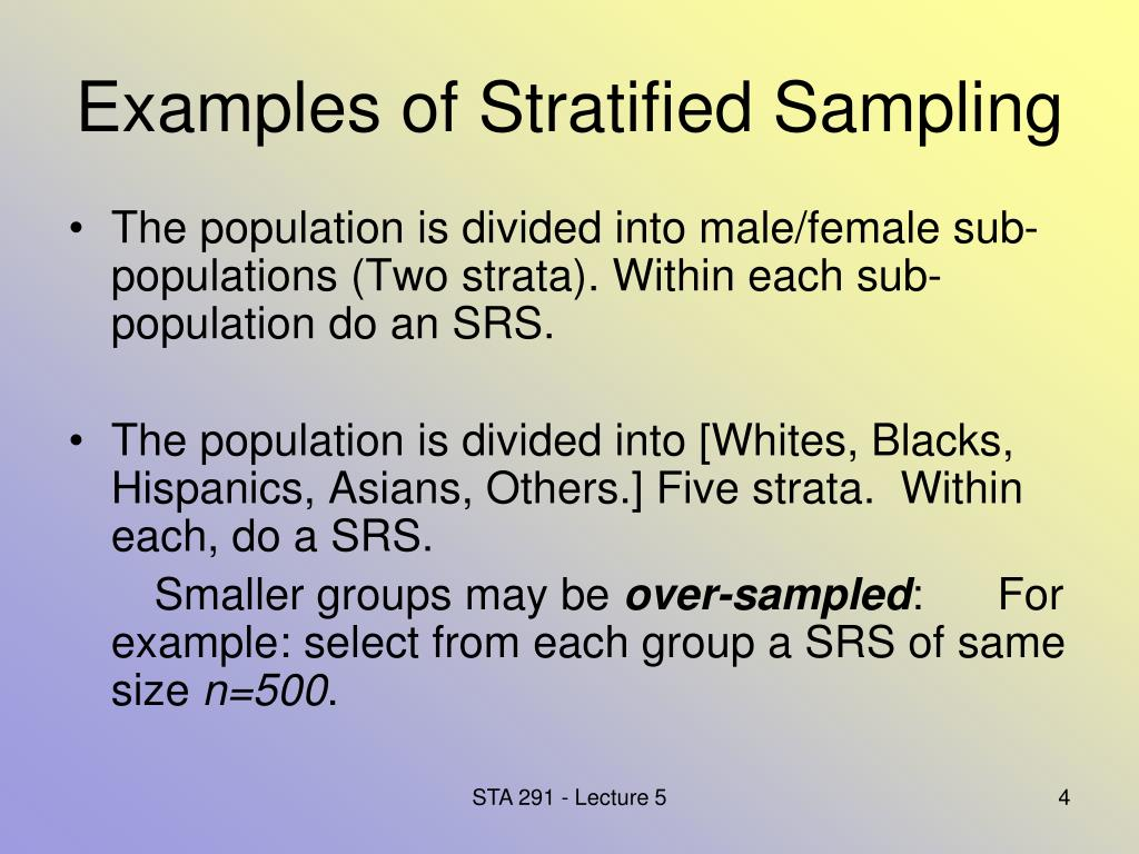 Examples of Stratified Sampling
