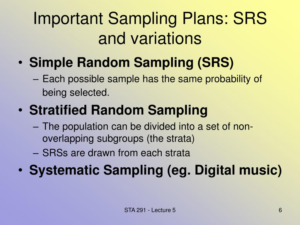 Important Sampling Plans: SRS and variations