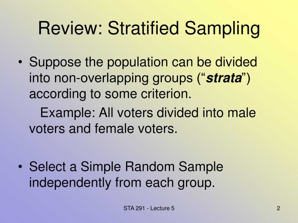 Review: Stratified Sampling