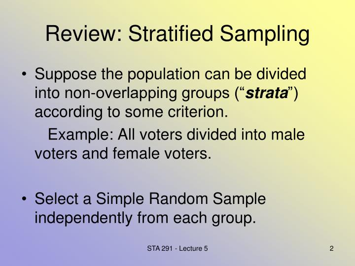 Review stratified sampling
