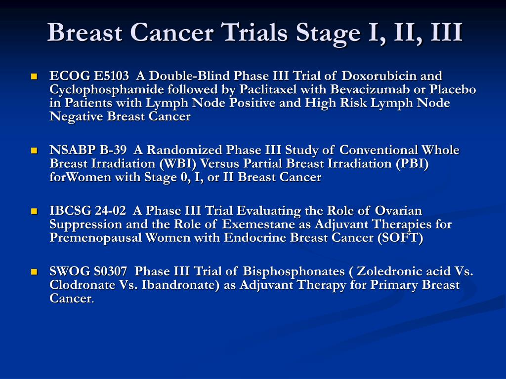 Breast Cancer Trials Stage I, II, III