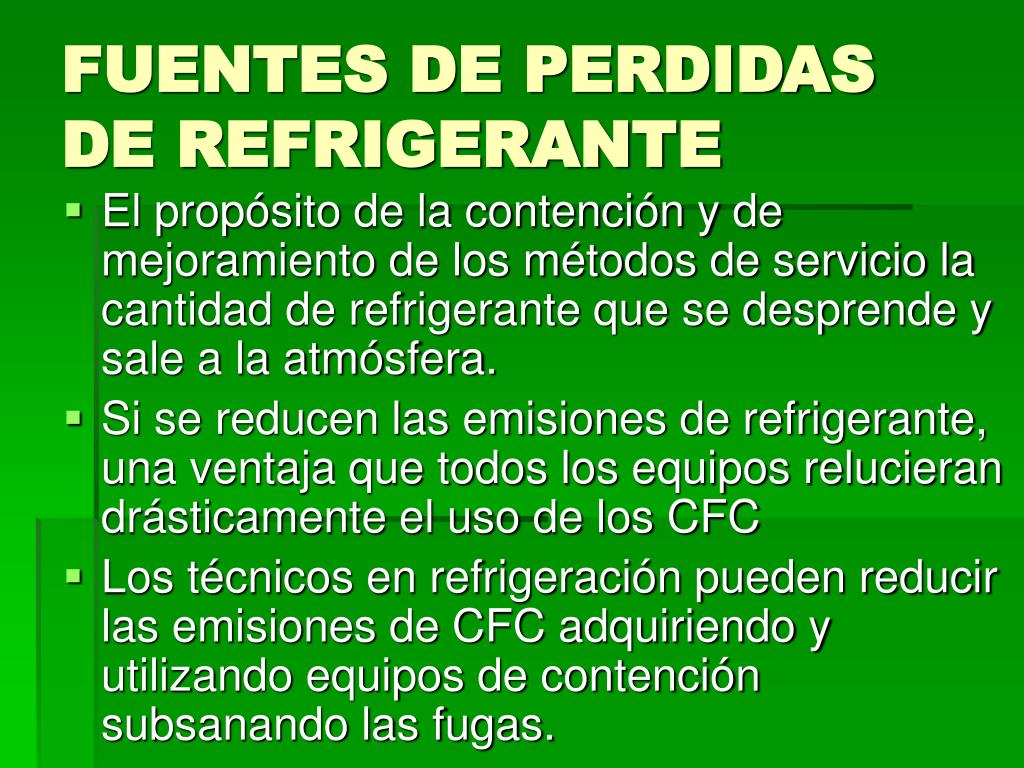 FUENTES DE PERDIDAS DE REFRIGERANTE