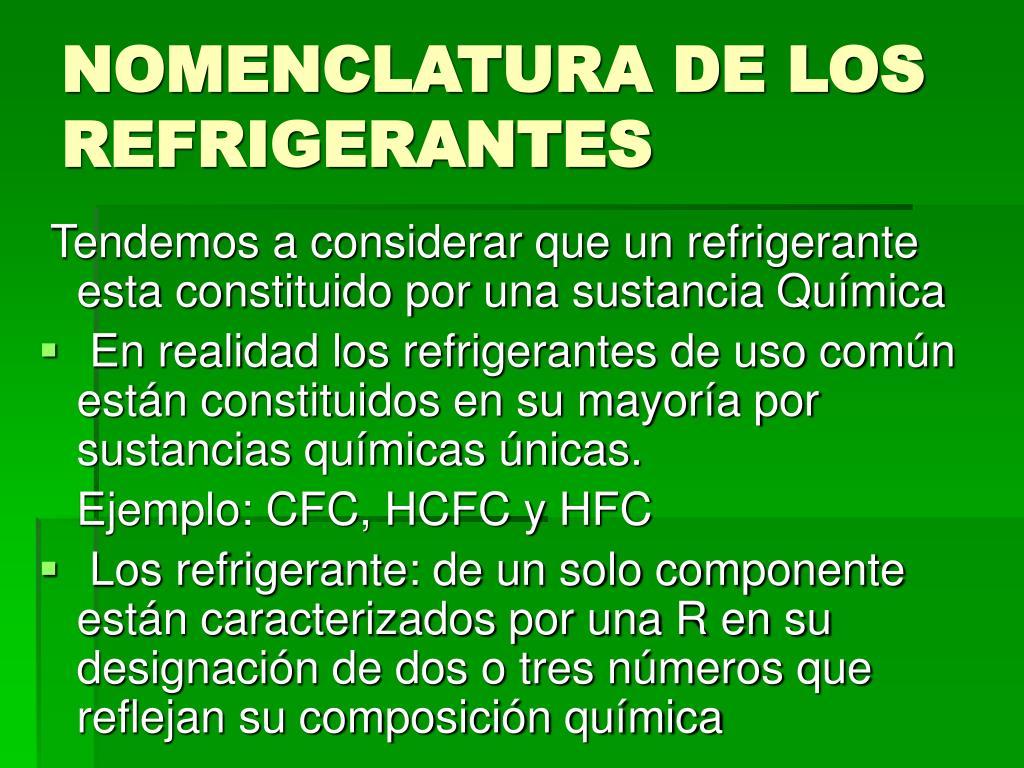 NOMENCLATURA DE LOS REFRIGERANTES
