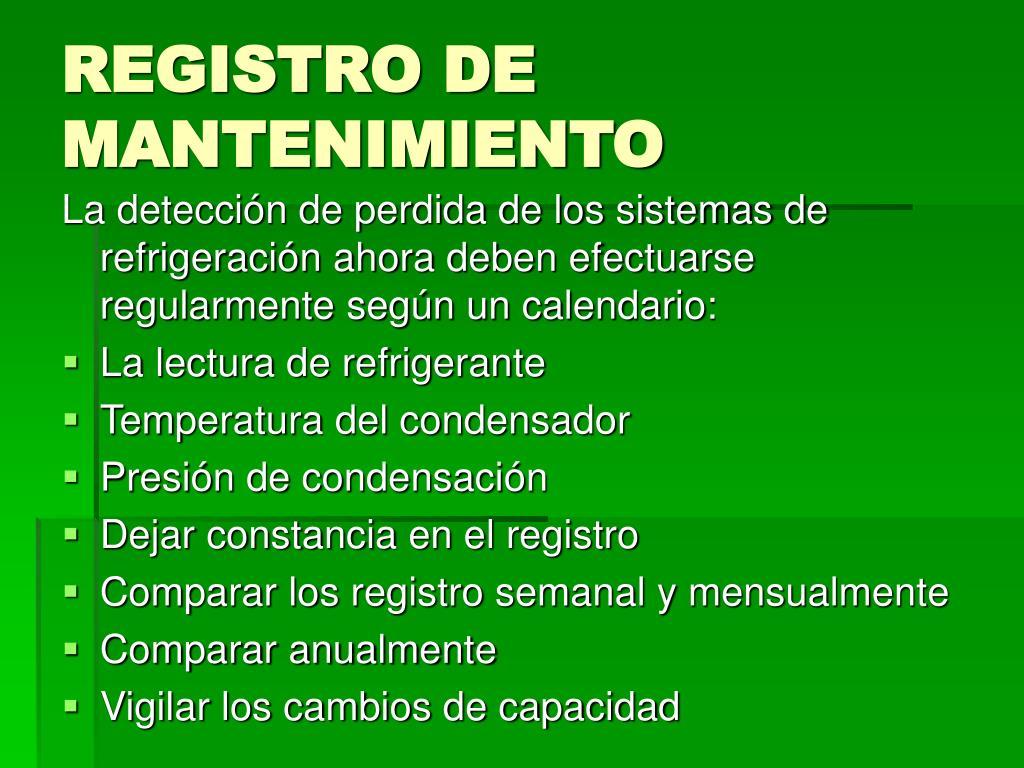 REGISTRO DE MANTENIMIENTO