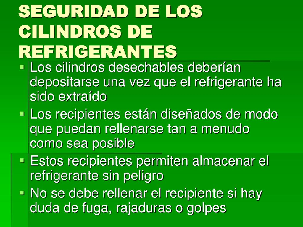 SEGURIDAD DE LOS CILINDROS DE REFRIGERANTES