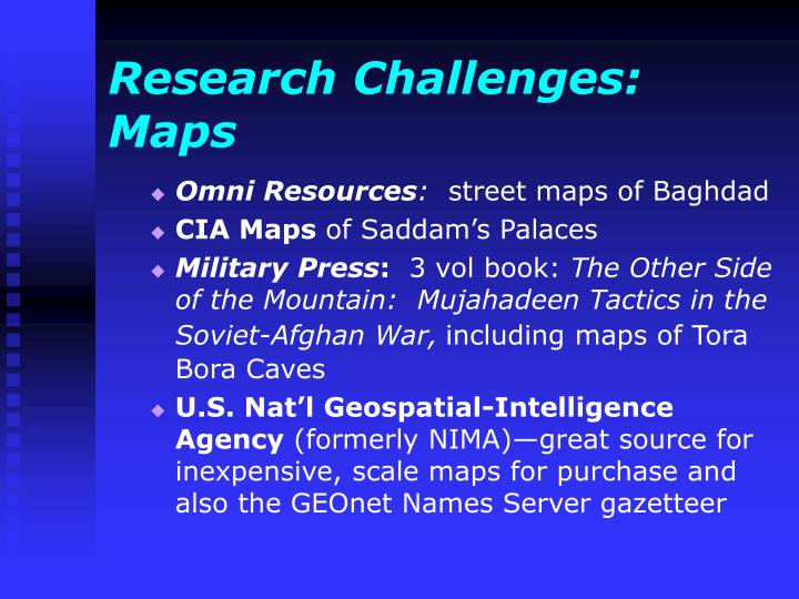 Research Challenges:  Maps