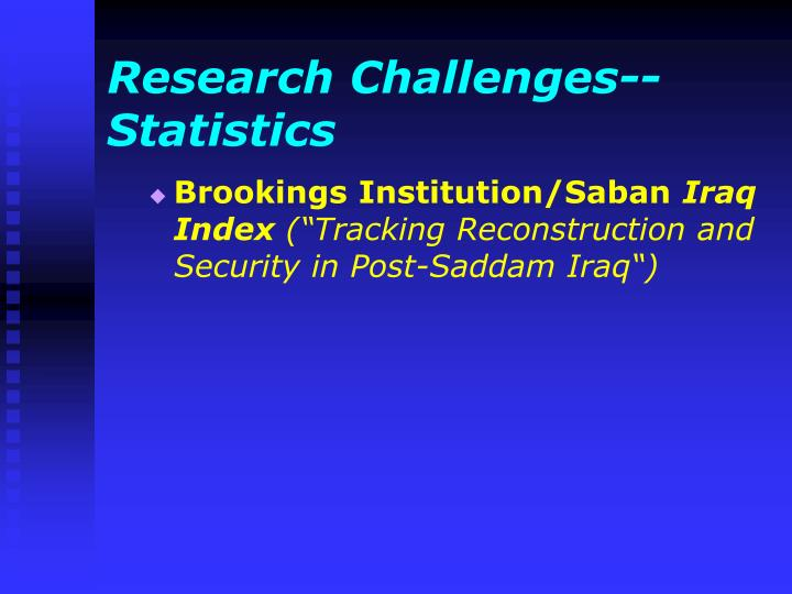 Research Challenges--Statistics
