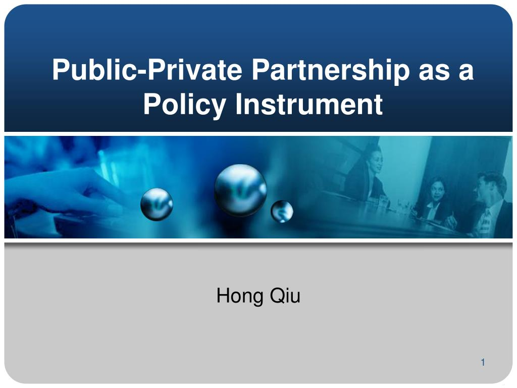 Public-Private Partnership as a Policy Instrument