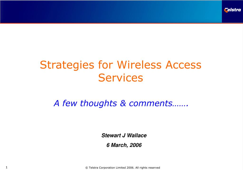 Strategies for Wireless Access Services