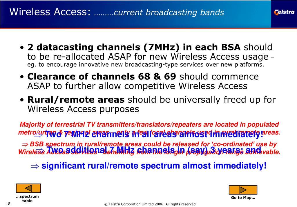 2 datacasting channels (7MHz) in each BSA