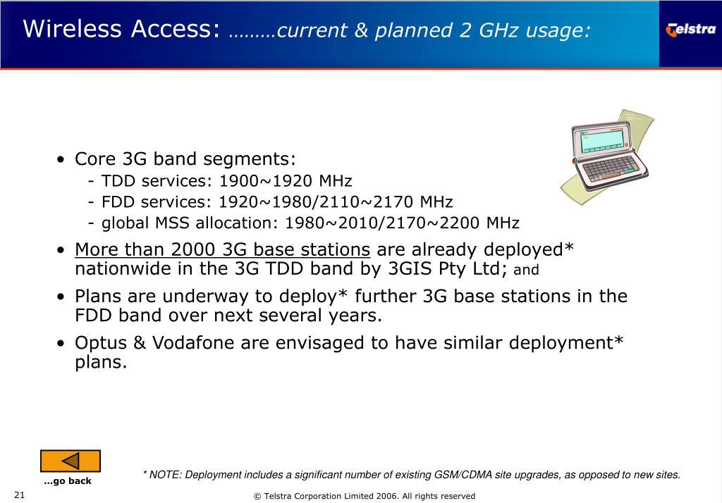Core 3G band segments: