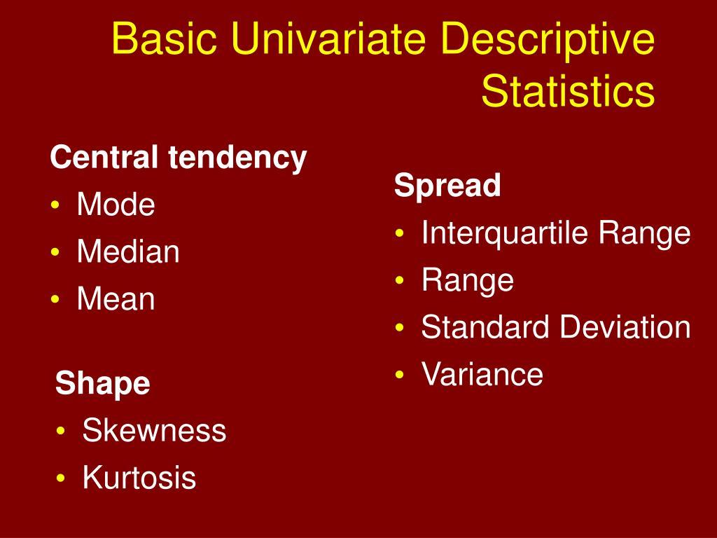 Basic Univariate Descriptive Statistics