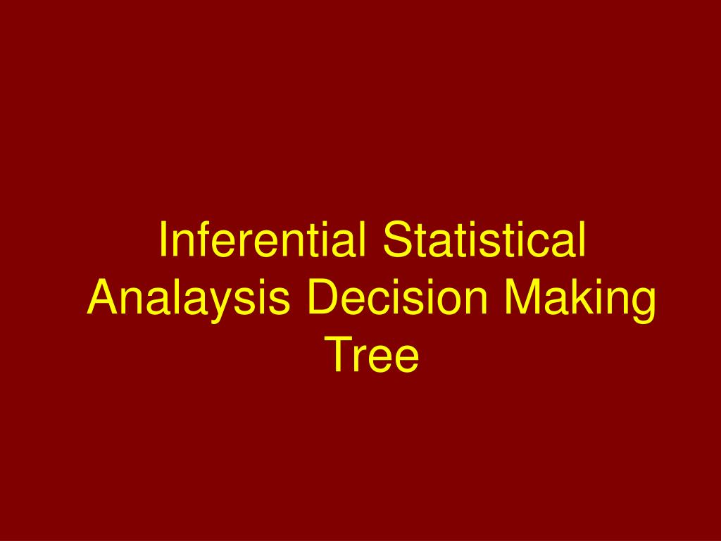Inferential Statistical Analaysis Decision Making Tree