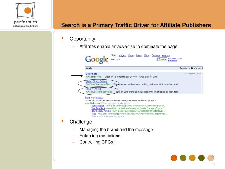 Search is a primary traffic driver for affiliate publishers