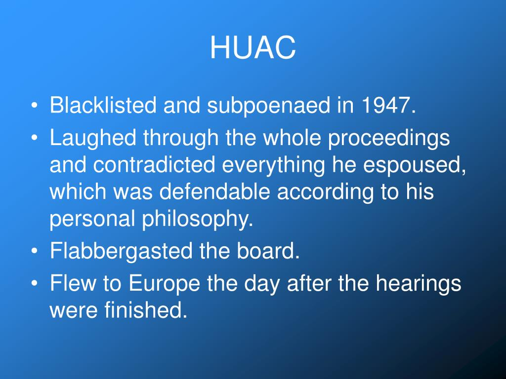 an essay on bertolt brecht on communism and his huac hearings Mccarthyism: a modern witch-hunt  mccarthy's interrogation of individuals and his controversial tactics these hearings also served to  bertolt brecht.