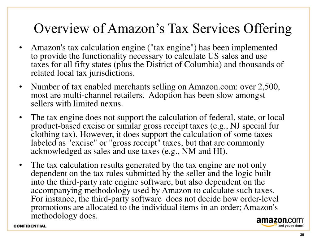 Overview of Amazon's Tax Services Offering