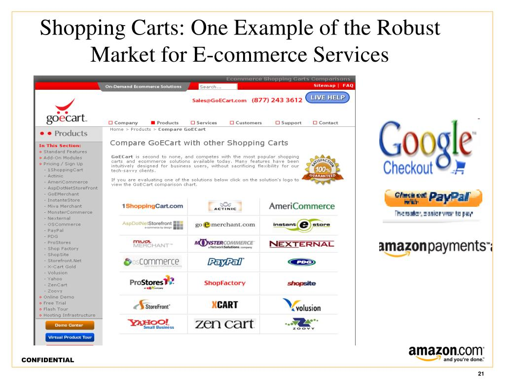 Shopping Carts: One Example of the Robust Market for E-commerce Services
